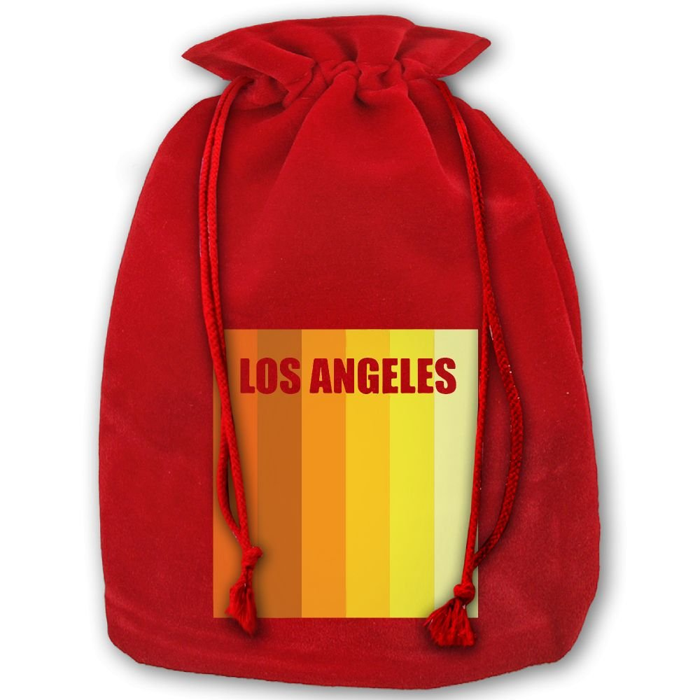 Los Angeles Vintage Silhouette Red Christmas Drawstring Bags / Santa's Trouser Bag/ Christmas Gift well-wreapped