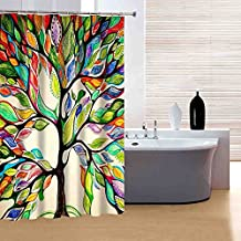 Haplain 3D Printing Waterproof Mouldproof Opacity Colorful Tree Bath Shower Curtain 180x180cm with Hooks