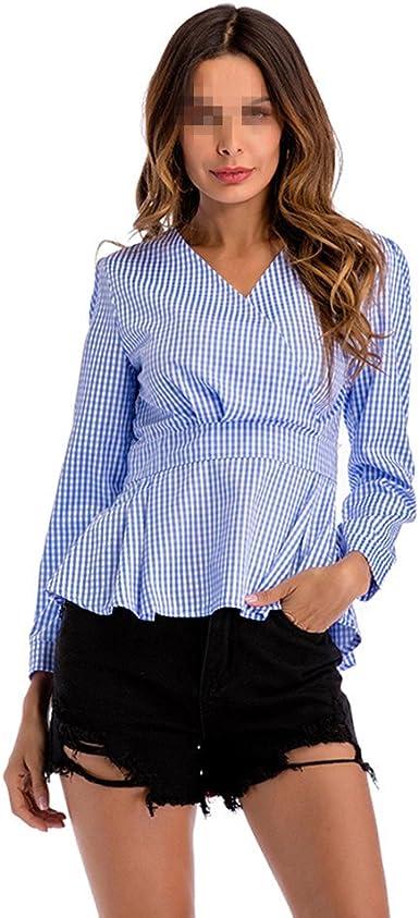 OULII Camisa de Cuadros de Mujer Delgada Camisa de Cintura ...