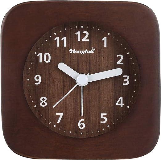 Reloj Despertador analógico de Madera, Reloj Despertador Retro con ...