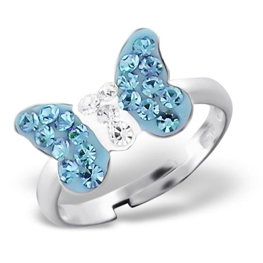 Aquamarine Crystal Butterfly Ring Size Adjustable 2-4 Sterling Silver 925 (E22262)