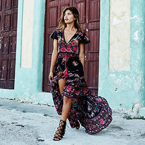 Robe de femme,Jimma Femmes robe longue impression Floral rétro col v manches courtes robe de soirée