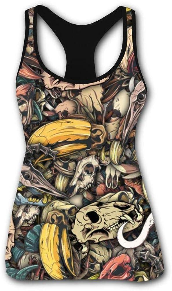Women's Outdoor Sport Animals Vintage Dragon Skull Fashion Printed Tank Top Vest Novelty T-Shirt Fast Drying Sleeveless Tee