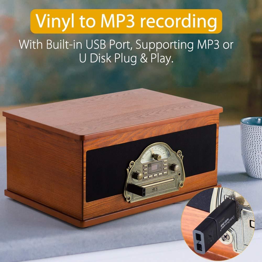 SHUMAN 7 en 1 Marrón Retro Tocadiscos Vinilo, Tocadiscos, Reproductor de CD / MP3, Bluetooth, USB, Radio FM Estéreo, Cassette, Función de Grabación, ...