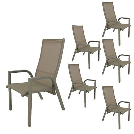 Edenjardi Pack 6 sillones de terraza | Reclinable con ...