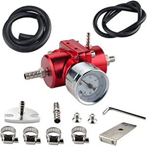 KABOCHO Aluminum Alloy Fuel Pressure Regulator Valve + 0-140 PSI Gauge + Hose Kit Red Universal