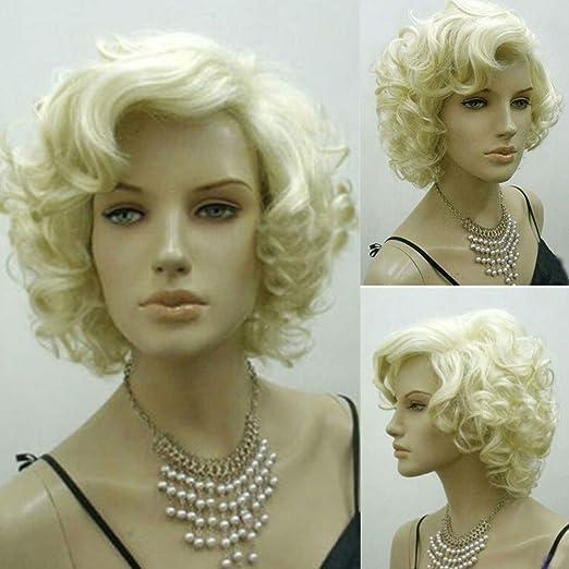 Bluelover Rubias Marilyn Monroe Moda Rizado Peluca Cosplay Pelo ...
