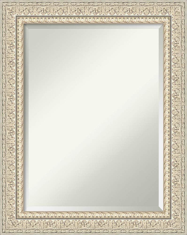 Amanti Art Framed Vanity Mirror   Bathroom Mirrors for Wall   Fair Baroque Cream Mirror Frame   Solid Wood Mirror   Medium Mirror   29.38 x 23.38 in.