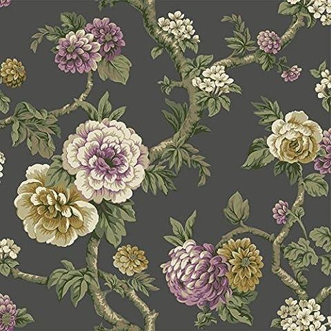 Wallpaper Designer Purple Lavender Cream Green Tan Floral Vine on Dark Gray (Dark Purple Wallpaper)