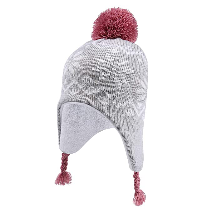 2affd283364 Amazon.com  INCHOICE Girls Winter Fleece Hat Warm Knit Beanie Earflap Hat  Pom Pom Sherpa Lined Snow Ski Pattern Kids Hat for Cold Weather (Grey    Rose)  ...