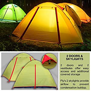 WEANAS Professional Backpacking Tent 2 3 4 Person 3 Season Weatherproof Double Layer Large Space Aluminum & Backpacking Tent For Tall People | What is the best Backpacking ...