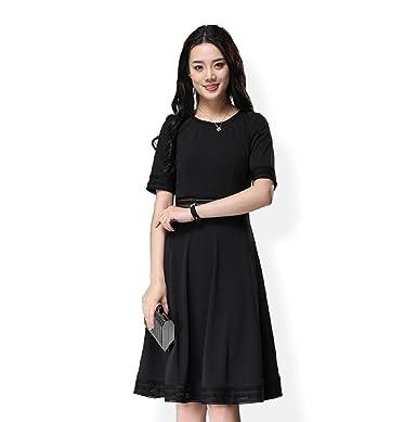 afa99806db26 Sypdress schwarzes Kleid Taille Kleid in Kurzarm Sommer Neue Big ...