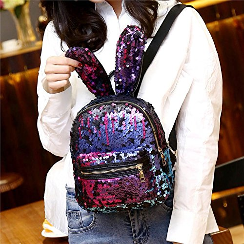 MaiYi Pink Colour amp; Bag Backpack Sequins Shaped for Big Ears Girls Blue Teens Dazzle Women Ideal Shoulders Rabbit TTpH5rx