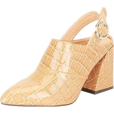 Amazon.com | Cambridge Select Women's Pointed Toe Slingback Chunky Block Flared Heel Mule | Mules & Clogs