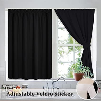 Ryb home vertical blinds blackout curtains drapes thermal insulated hookless draped velcro stickers blinds light block