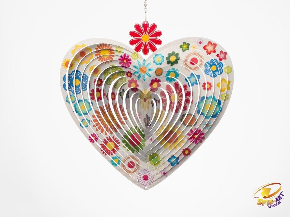 Spin Art Premium Flower Heart Red Wind Spinner 6-Inch