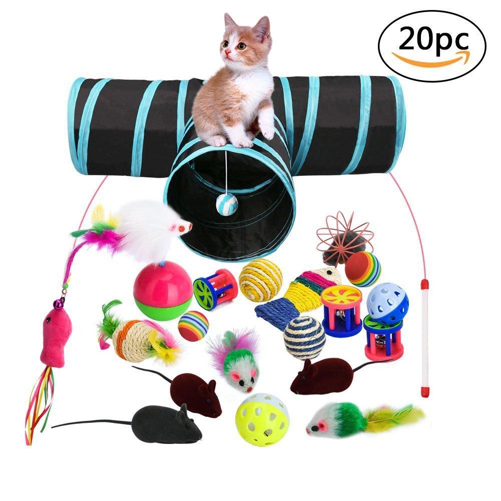 Juguetes para Gatos, 20 Piezas Juguete Interactivo para Gatos con Plumas para Kitty