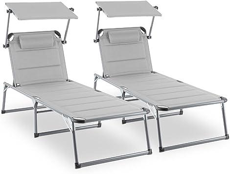 réglables5 blumfeldt 2 réglables Set transat rembourréesdossiers Longues Amalfi allongéePare soleils ou chaises PositionsAssise X8n0OPkw