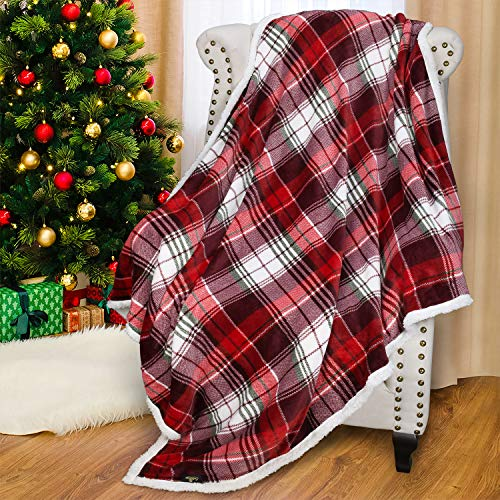 Catalonia Red Buffalo Plaid Sherpa Throw Blanket,Reversible Super Soft Warm Comfy Fuzzy Snuggle Micro Fleece Plush Throws for Bed Couch Sofa TV,60x50 Inches (Christmas Fuzzy Blankets)