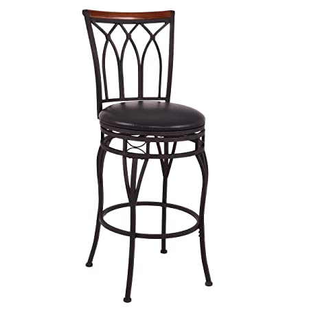 COSTWAY Vintage Bar Stools Swivel Comfortable Leather Padded Seat Bistro Dining Kitchen Pub Metal Seat Height Barstools Chairs 1 Stool with 2 Set of Feet Caps