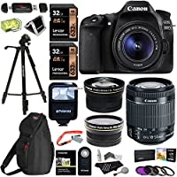 Canon EOS 80D Digital SLR Camera Kit EF-S 18-55mm Image Stabilization STM Lens + Polaroid .43x Super Wide Angle & 2.2X HD Telephoto Lens + X2 32GB Memory Cards + Flash + Filters + Accessory Bundle Noticeable Review Image