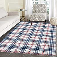 Plaid Rug Kid Carpet Traditional Checkered British Country Pattern with Geometric Design Home Decor Foor Carpe 2x3 Navy Blue Vermilion White
