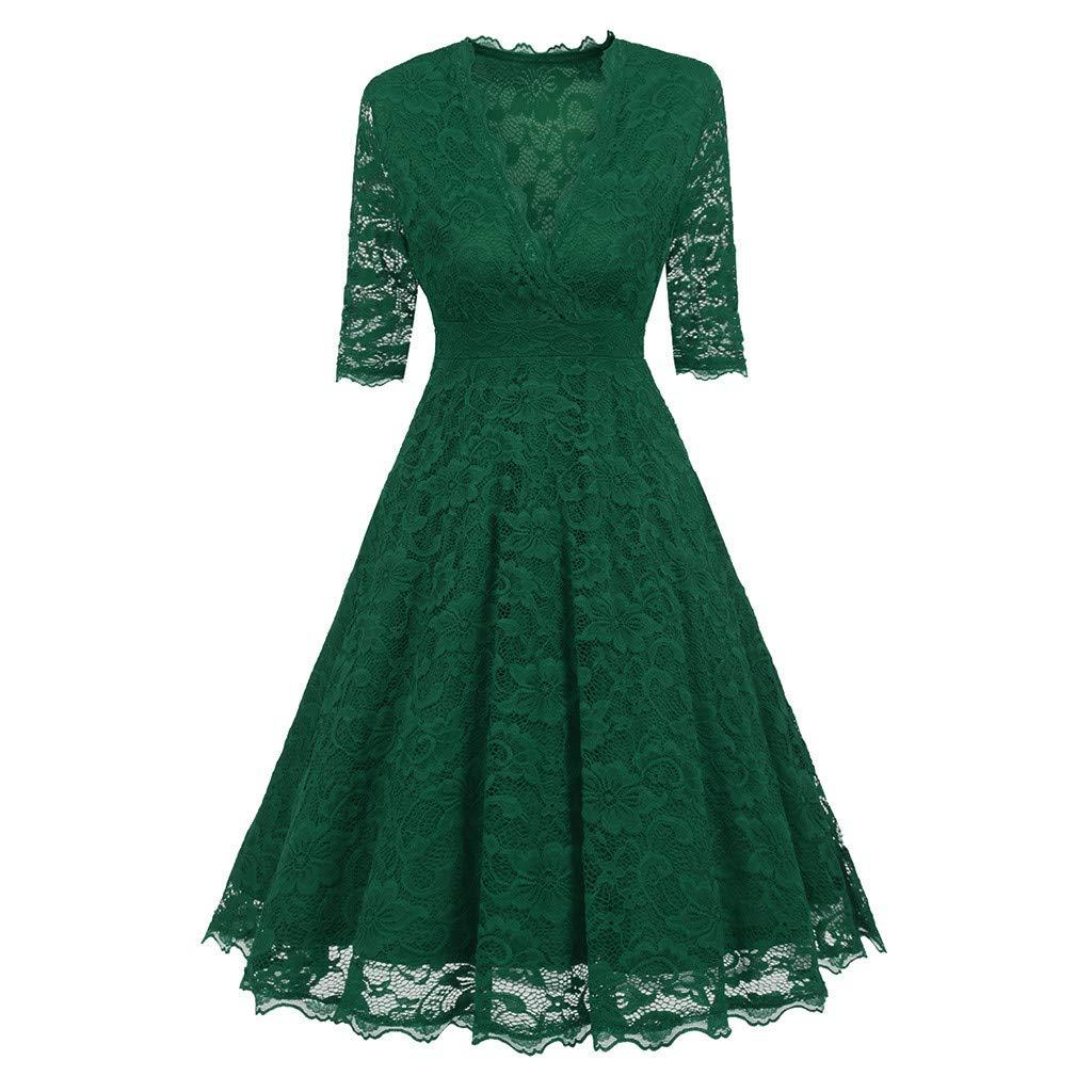 Fitfulvan Women's Plus Size Half Sleeve Lace Deep V Dress Knee Length Vintage 1950s Retro Rockabilly Prom Dresses Green