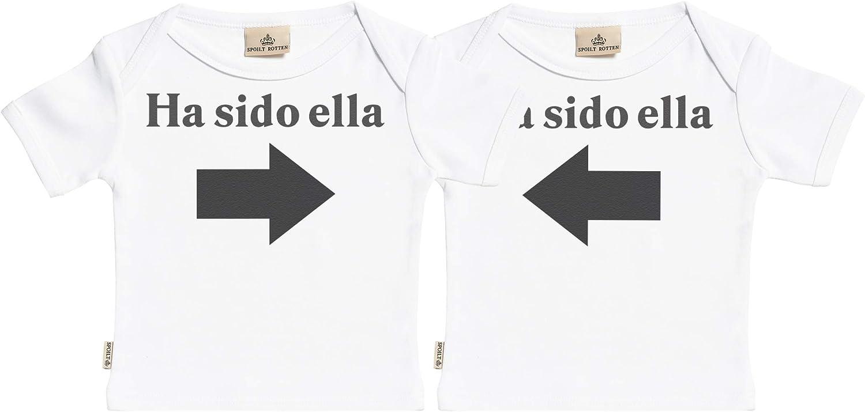 SR - Estuche de presentación - Ha Sido Ella & Ha Sido Ella - Conjunto Gemelo - Camisetas para bebé niño - Camisetas para bebé niña - Conjunto Regalo del bebé Blanco
