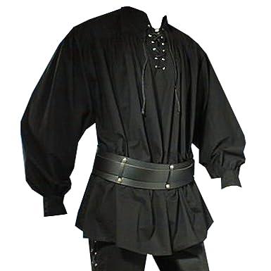 Medieval pirata Camisa con cuello alto, color negro, tallas S – XXL negro 54: Amazon.es: Ropa y accesorios