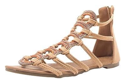 66dfe10c430ce Cambridge Select Women s Open Toe Ankle Strappy Crystal Rhinestone Beaded  Flat Sandal (6.5 B(