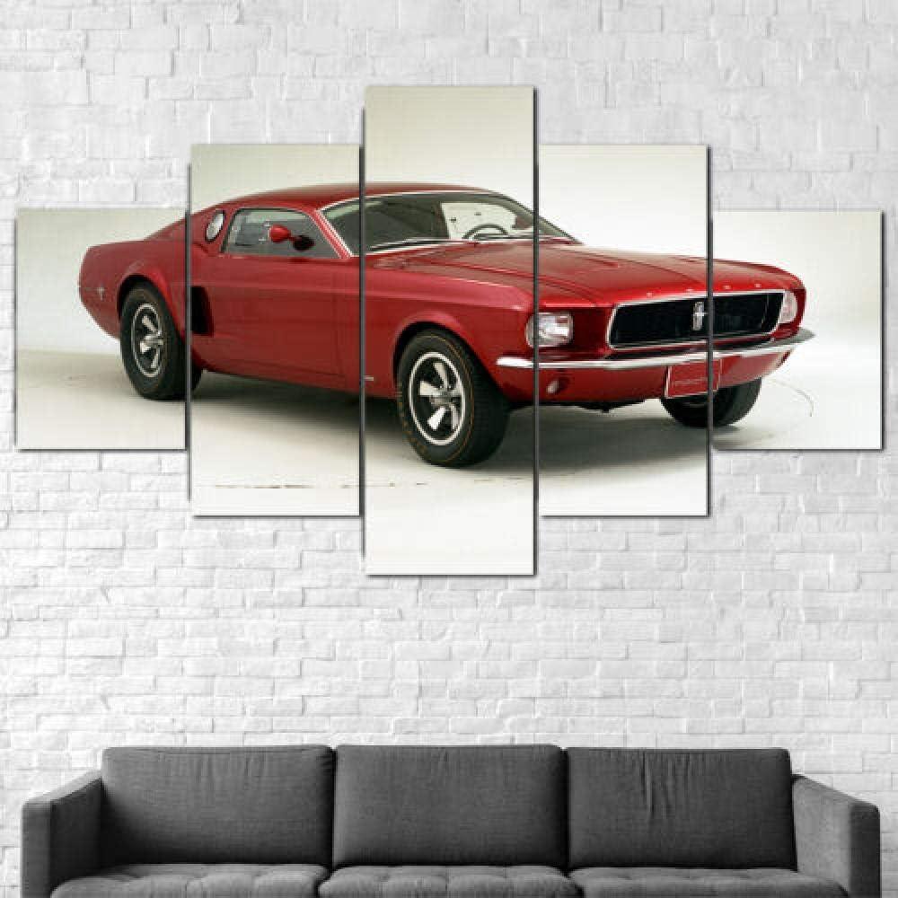 Malqx Impresiones sobre Lienzo Ford Mustang Mach 1 Coche Lienzo Impresión Enmarcada 5 Piezas Pared Arte Cartel Decoración