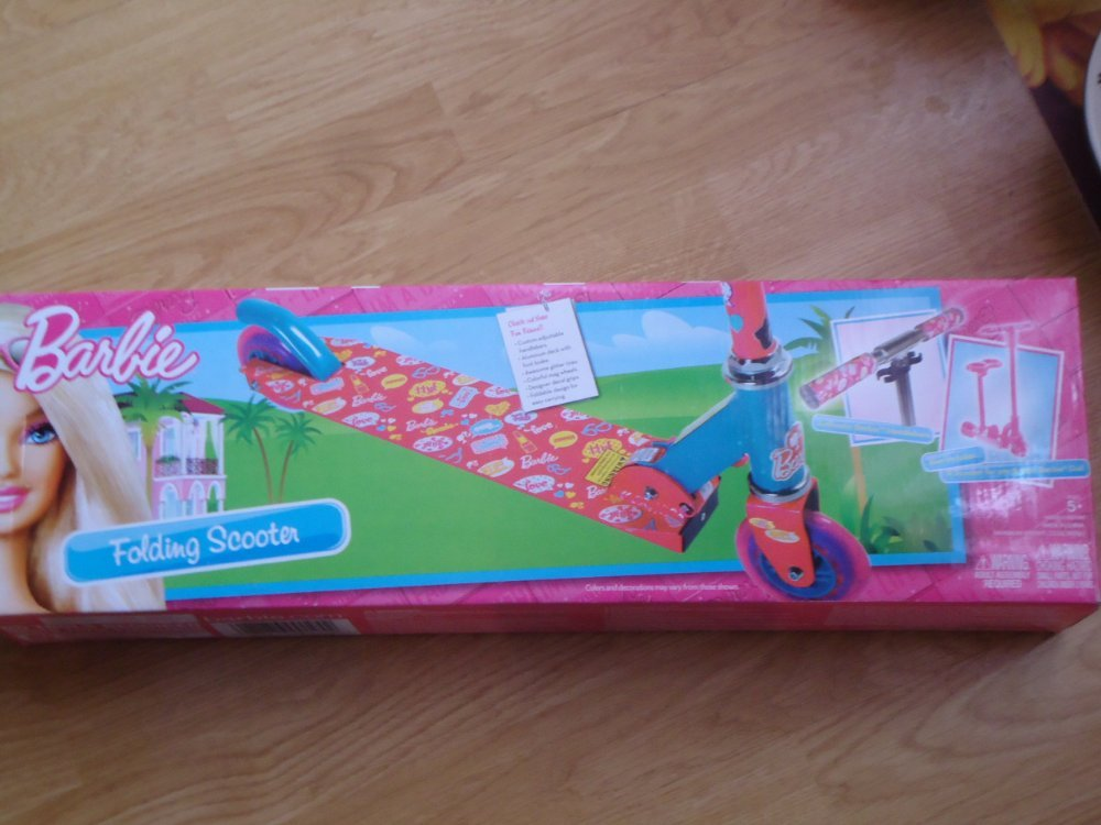 Barbie Folding Scooter Pink & Blue with Glitter Tires & barbie design