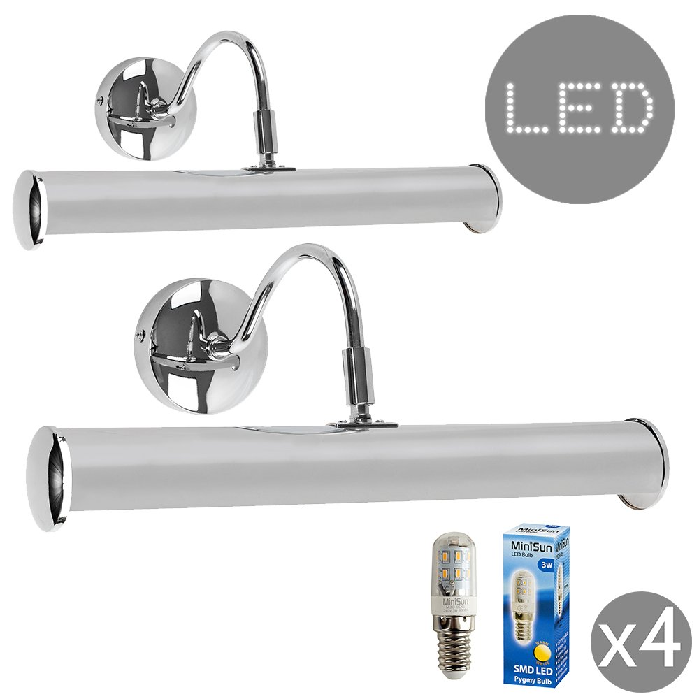 Pair of - Modern Adjustable Twin Picture Wall Lights in A Silver Chrome Finish - Complete with 3w LED Pygmy Light Bulbs [3000K Warm White] MiniSun