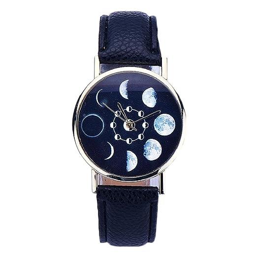 Sannysis® Mujeres Lunar Eclipse Modelo de cuero de cuarzo analógico reloj de pulsera Negro: Amazon.es: Relojes
