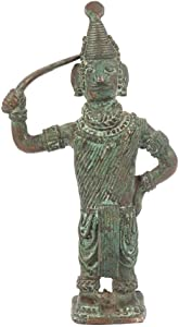 Indian Shelf Handcrafted Brass Dokra Figurine Man with Bow Statues Decoration Vintage Statement Pieces