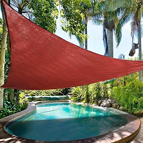 Ollieroo Shade Sail UV Block Fabric Patio Outdoor Canopy Sun Shelter with 5ft PE Ropes and Steel D-rings 16.5x16.5x16.5ft Triangle Red by Ollieroo