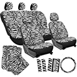 OxGord® 21pc Set of Zebra Print Car Seat Covers w/Deluxe Velour Animal Carpet Floor Mats, Steering Wheel Cover & Shoulder Pads - Airbag Compatible - Front Low Back Buckets - 50/50 or 60/40 Rear Split Bench - Universal Fit for Cars, Truck, SUV, or Van, Snow White