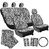 zebra car accessories interior - OxGord 21pc Zebra Car Seat Cover, Carpet Floor Mat, Steering Wheel Cover, Shoulder Pad Set - Universal Fit, Truck, SUV, or Van - Snow White