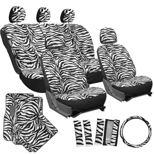 OxGord 21pc Zebra Car Seat Cover, Carpet Floor Mat, Steering Wheel Cover, Shoulder Pad Set - Universal Fit, Truck, SUV, or Van - Snow White (White Covers Car Zebra Seat)
