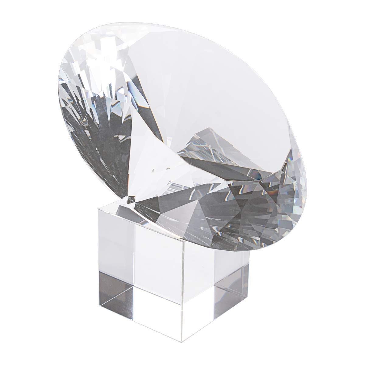 LONGWIN Huge 150mm (5.9 in.) Crystal Polyhedron Diamond Paperweight Wedding Home Decoration Centerpieces(Clear) by LONGWIN