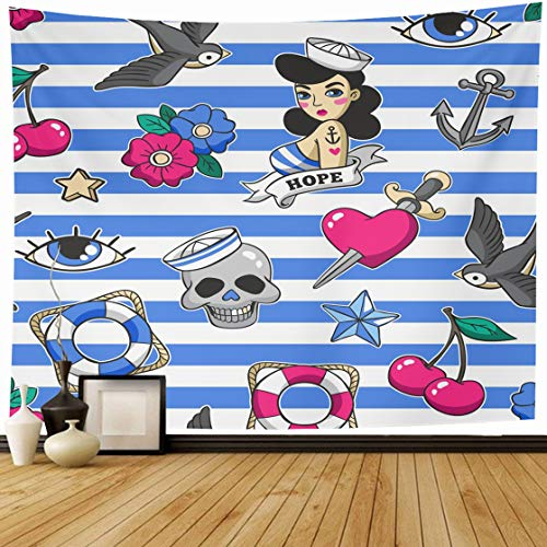 Ahawoso Tapestry Wall Hanging 60x50 Black Anchor Old School Heart Skull Pattern Rockabilly Tattoo Vintage American Bird Home Decor Tapestries Decorative Bedroom Living Room Dorm ()