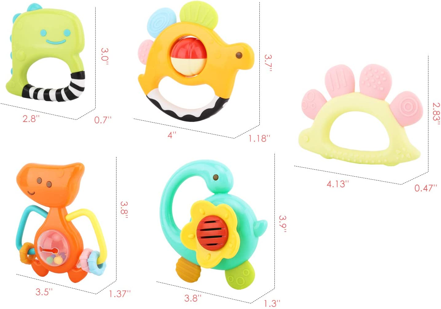 Soft Rattle Teething Toy for Pain Relief Zooawa Baby Teething Toy Set, Colorful BPA-Free Teether Dinosaur Rattles Toy Age-specific Design for Infants and Toddlers 5 PACK
