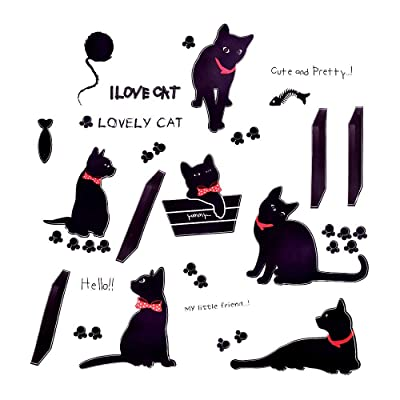 MOTZU Cute Black Cat Wall Decal Sticker Set DIY Art Stickers Waterproof Removable Vinyl Minimalist Animal Silhouette for Kids Home Window Decoration Living Room Carving Nursery Office Hotel Bedroom: Baby
