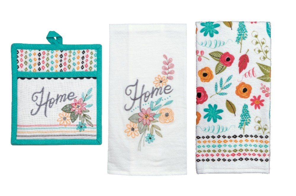 Floral Themed Kitchen Linens Set: Bundle Includes (1) Pocket Oven Mitt and (2) Kitchen Towels in a Modern Floral Home Comfort Design