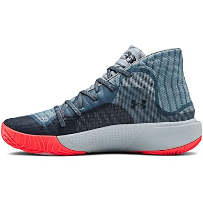 Under Armour Men's Spawn Mid Basketball Shoe, Ash Gray (401)/Harbor Blue, 10.5 | Basketball