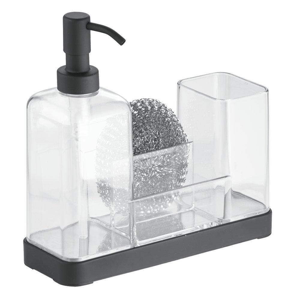 Delightful MDesign Sink Caddy   With Refillable Pump Soap Dispenser   Sink Tidy For  Kitchen Sink Accessories   Transparent / Matt Black: Amazon.co.uk: Kitchen  U0026 Home