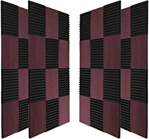 """96 Pack Acoustic Panels Soundproof Studio Foam for Walls Sound Absorbing Panels Sound Insulation Panels Wedge for Home Studio Ceiling, 1"""" X 12"""" X 12"""", Black&Coffee (96Pack, Black&Coffee)"""