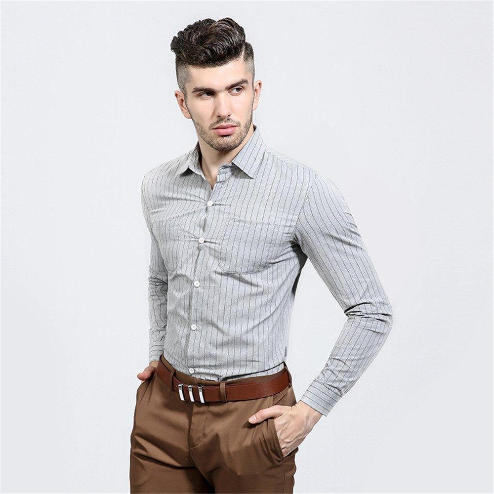 Lixus männer - Mode langärmelige Shirt Brust doppelt Tasche Mann Revers senkrecht gestreiften langärmliges Hemd,Grau,M
