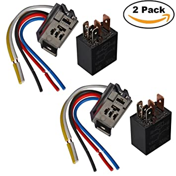 Ehdis 5 Pin Wires Cable Relay Socket Harness Connector 24VDC 30A