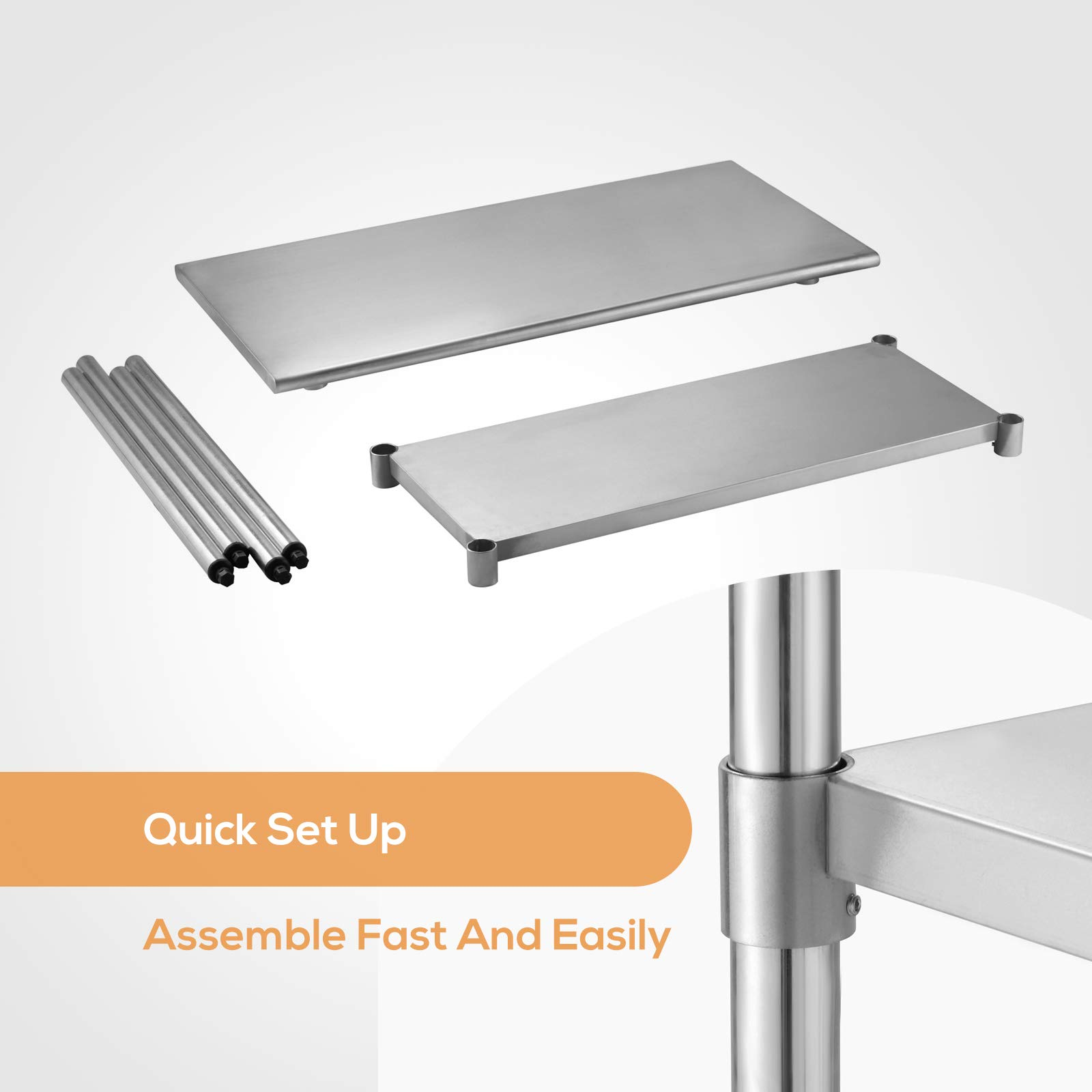 SUNCOO Commercial Stainless Steel Work Table Food Grade Kitchen Prep Workbench Metal Restaurant Countertop Workstation with Adjustable Undershelf 48 in Long x 24 in Deep by SUNCOO (Image #7)